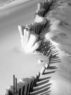 Great idea for a winter shot at the beach: Snow Fence I Love Snow, I Love Winter, Winter White, Winter Snow, Snow Fence, Winter Magic, Winter Scenery, Snow And Ice, Snow Scenes