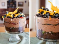layered dirt cake with gummy worms and trucks. perfect two year old birthday.