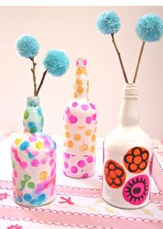Decoupage with tissue paper on wine bottles