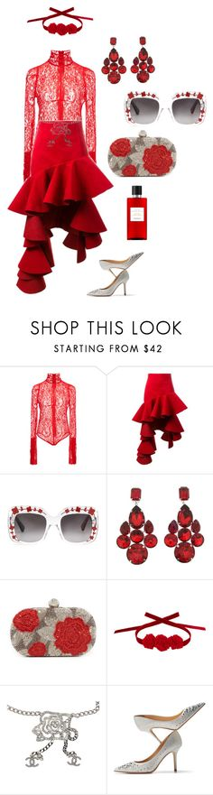 """""""RED LIGHT"""" by thebuzzwithgennybee on Polyvore featuring Givenchy, Jacquemus, Gucci, Dolce&Gabbana, Santi, Vjera Vilicnik, Chanel, Jimmy Choo and Hermès"""