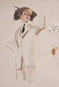 JOSEPH CHRISTIAN LEYENDECKER (American, 1874-1951). Study of aMan Hailing a Taxi. Oil on canvas. 16.75 x 11.5