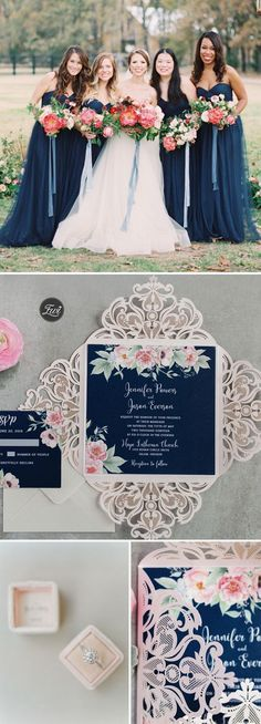 Gorgeous Navy Blue and Blush Pink Floral Laser Cut Wedding Invitations EWDK002
