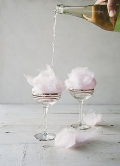 Fun + easy bridal shower cocktail idea - cotton candy + champagne cocktails {Courtesy of Claire Thomas}