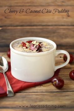 Fresh Cherry and Coconut Chia Pudding is dairy free, gluten free, and full of nutritious chia seeds. This coconut milk chia pudding recipe can be a healthy breakfast or dessert. Raw Desserts, Gluten Free Desserts, Dairy Free Recipes, Raw Food Recipes, Dessert Recipes, Candida Recipes, Healthier Desserts, Healthy Recipes, Dessert Ideas