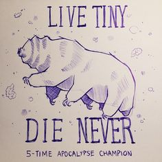 "hoidn: ""[description: drawing of a tardigrade with the caption ""LIVE TINY DIE NEVER apocalypse champion""] urbpan: ""wheremyfeetfall: ""sarahmckayart: ""Semper minimum ursi Science Jokes, Science Art, Chemistry Jokes, Axolotl, Biology Tattoo, Biology Humor, Grammar Humor, Tardigrade, Science Tattoos"