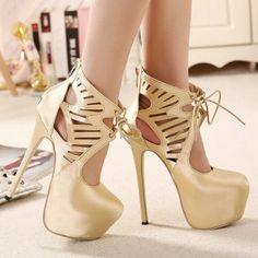 Chic Openwork and Lace-Up Design Women s Zipper Pumps USD$25 Wedding Shoes 6480d394b215
