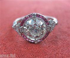 1.79 CARAT DIAMOND ART DECO RING IN PLATINUM