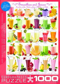 If you love smoothies and homemade fruit juice and you enjoy working a jigsaw puzzle, you will enjoy this Smoothies and Juices themed jigsaw puzzle! Cocktails, Drinks, Juice Smoothie, Smoothies, Fruit Juice, Healthy Treats, Yummy Treats, Healthy Food, Canned Ham