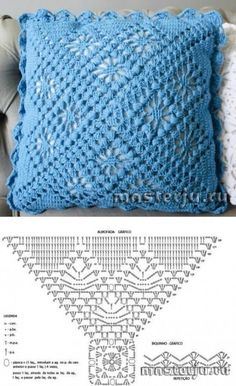 How to Crochet a Solid Granny Square - Crochet IdeasThis Pin was discovered by Hwi Crochet Cushion Pattern, Crochet Pillow Cases, Crochet Cushion Cover, Crochet Cushions, Crochet Diagram, Crochet Chart, Crochet Motif, Crochet Designs, Crochet Doilies