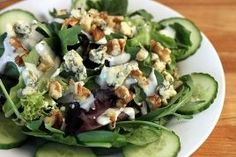 Salad Greens with English Cucumbers, Walnuts, & Blue Cheese
