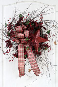 Country Primitive Berry Wreath, Red Star & Country Check Bow, Great for Country Decor  via Etsy.