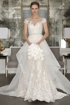 Pearl Candlelight applique lace gown, with illusion net off-the-shoulder bodice.