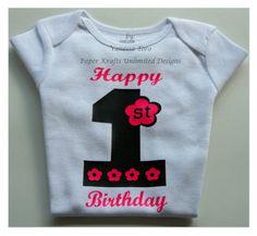 Baby Girl 1st Birthday Onesie, #HEP