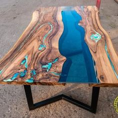 Double waterfall live edge river coffee table with glowing | Etsy Wood Resin Table, Resin Patio Furniture, Backyard Furniture, Living Furniture, Wood Table, Diy Resin Coffee Table, Live Edge Furniture, Coffee Tables, Dining Table With Bench