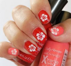 two tone coral polish with WHITE HIBISCUS BLOSSOMS - Kawaii Tropical Waterslide Transfers Decals - Tropical Nail Art