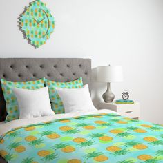 Lisa Argyropoulos Pineapples And Polka Dots Duvet Cover   DENY Designs Home Accessories