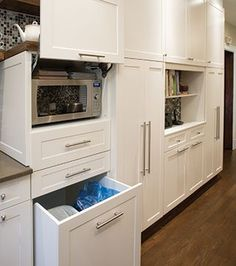 garbage and recycling. Microwave In Kitchen, Cute Kitchen, Ikea Kitchen, Kitchen Cupboards, Kitchen Storage, Kitchen Decor, Kitchen Design, Hidden Microwave, Kitchen White