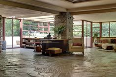 Fallingwater, a Frank Lloyd Wright masterpiece - read more about it at http://caro-interiors.com/2011/03/24/big-house-tour-fallingwater/