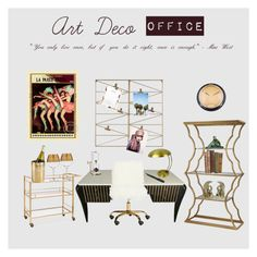 """Art Deco Office"" by jenni-oneil on Polyvore featuring interior, interiors, interior design, home, home decor, interior decorating, CABARET, Cartier, Safavieh and Martha Stewart"