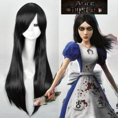 Alice Madness Returns cosplay wig Womens black long straight full wigs K3 #new #FullWig