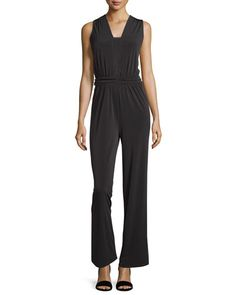 Sleeveless Ruched Jumpsuit, Black