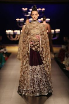 Manish Malhotra at India Couture Week 2014 - bridal maroon and gold lehnga