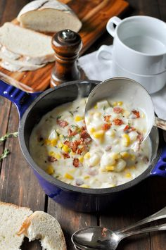 Ham Corn Potato Chowder - who needs bacon when you have leftover ham? Simple to make, incredibly thick and creamy (but no cream used!).