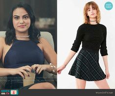 Urban Outfitters BDG Tai Plaid Circle Skirt worn by Veronica Lodge (Camila Mendes) on Riverdale Veronica Lodge Fashion, Veronica Lodge Outfits, Veronica Lodge Style, Retro Outfits, Cool Outfits, Fashion Outfits, Film Fashion, Girly Outfits, Navy Crop Top