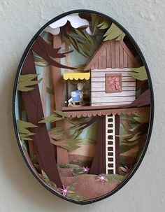 Charming paper cut out diorama