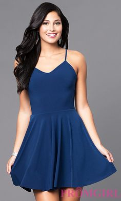 Short Camisole A-Line Party Dress with Strappy Back