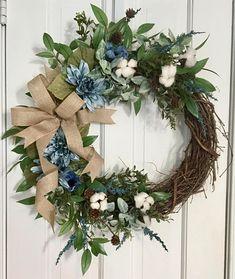 Cotton Boll Farmhouse Wreath Blue Flower Wreath Grapevine