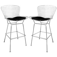 The Baxton Studio Tomkin Steel wire mesh barstool with chrome feel features a leatherette seat pad for comfort, simple yet stylish design.