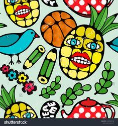 Seamless pattern with cartoon characters. Hand drawn vector illustration of pineapple, school pencils and basketball ball. #illustration #ekapanova  #abstract #summer