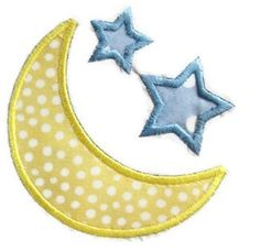 Moon Stars Machine Embroidery Applique by SimplySweetEmbroider, $4.00