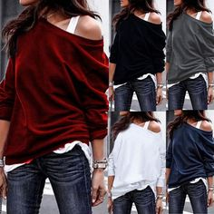 ad0d6b4c51df8d  Women  Off-Shoulder  Jumper  Blouse  Casual Cotton Jumper