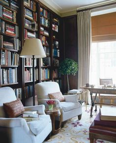 Office - Library - Timothy Whealon Interiors - London Townhouse - dark and light mix London Townhouse, Furniture Layout, Living Room Furniture, Library Furniture, Furniture Nyc, White Furniture, Library Room, Cozy Library, Reading Library