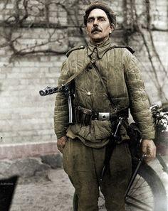 Red Army soldier in the German village of Knobelsdorff 1945