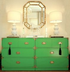 We love a vintage piece in the nursery or kids room and this green campaign piece is just fab!
