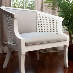 Silver Fog Garden Cane Chair  white and grey by alexisandradesign, $350.00.  I think I can do this myself with the currently seriously ugly dining room chairs from my grandparents' house.