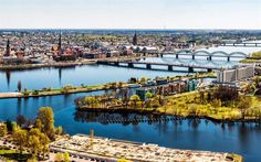 Télécharger fonds d'écran Riga, en été, la rivière, la Lettonie, le panorama urbain