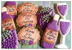Wine theme Cookies~ By Sweet Surprise Cookies, purple grapes, wine… Cookie Frosting, Royal Icing Cookies, Cupcake Cookies, Sugar Cookies, Cookies Et Biscuits, Fancy Cupcakes, Fancy Cookies, Wine Tasting Party, Wine Parties