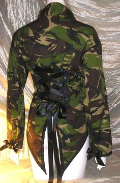 Camouflage Corset Jacket Tail Coat Military Army by Revamporium