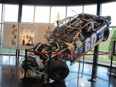 2005 crash at Daytona. The driver walked away from the crash. On display at Roush Fenway Racing Nascar Crash, Nascar Race Cars, Nascar Wrecks, Racing Baby, Kyle Busch, Tony Stewart, Bud Light, Dale Earnhardt, Car And Driver