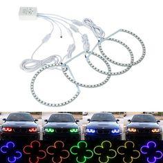 4*131MM 33 SMD5050 LED Angel Eyes Kit Xenon Headlight RGB Multi-color Light for BMW E36 E38 E39 E46 3 5 7 Series