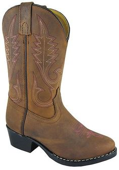 Kids Distressed Brown Leather Western Cowgirl Boots