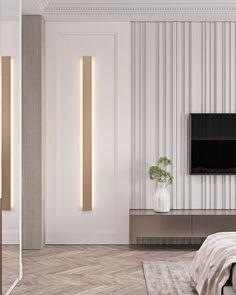 Apartment in Baku_A on Behance Living Room Tv Unit, Home Living Room, Living Room Designs, Luxury Interior, Modern Interior Design, Modern Classic Interior, Bedroom False Ceiling Design, Industrial Home Design, Wall Decor Design