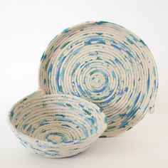 Hand painted, handmade rope vessels painted in bright pastel tones | Gemma Patford