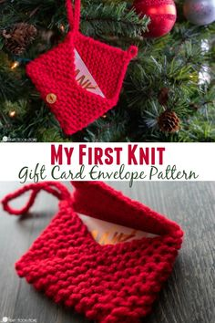 My First Knit Pattern: Christmas Ornament Gift Card Envelope This knit Christmas Ornament Gift Card Envelope pattern is the perfect way to learn how to knit and to practice your tension. I call that a win! Knitted Christmas Decorations, Knit Christmas Ornaments, Diy Yarn Ornaments, Christmas Gifts, Cheap Christmas, Xmas, Holiday, Knitting Patterns Free, Knit Patterns