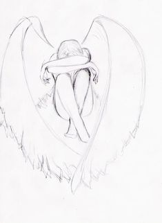 Crying angel by KleonX on DeviantArt Sad Drawings, Art Drawings Sketches Simple, Pencil Art Drawings, Sad Sketches, Drawings Of Angels, Fairy Drawings, Wings Drawing, Drawing Base, Cry Drawing