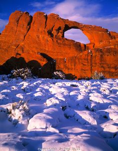 Winter snow at Skyline Arch  Arches National Park, Utah  Devils Garden area